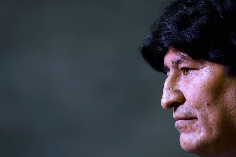 O ex-presidente boliviano Evo Morales durante entrevista coletiva em Buenos Aires em fevereiro