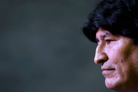Former president of Bolivia Evo Morales looks on during a press conference in Buenos Aires, on February 21, 2020. - Bolivia's supreme electoral court on Thursday disqualified exiled former president Evo Morales from running for a Senate seat in May's general election, saying he did not meet residency requirements. (Photo by RONALDO SCHEMIDT / AFP) ORG XMIT: RSA464