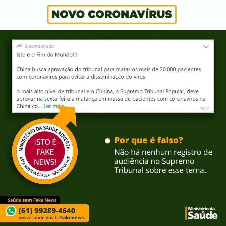 Fake news sobre o novo coronavírus