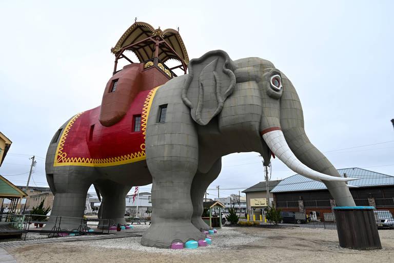 """Imagens da casa """"Lucy the Elephant"""" em Margate, Estados Unidos"""
