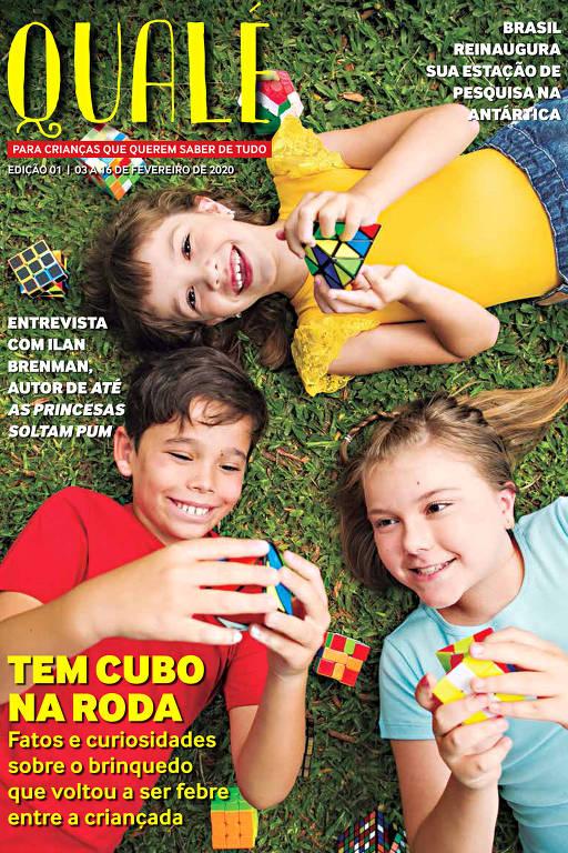 A primeira edição da revista Qualé, voltada para o público infantil, que começou a circular em fevereiro