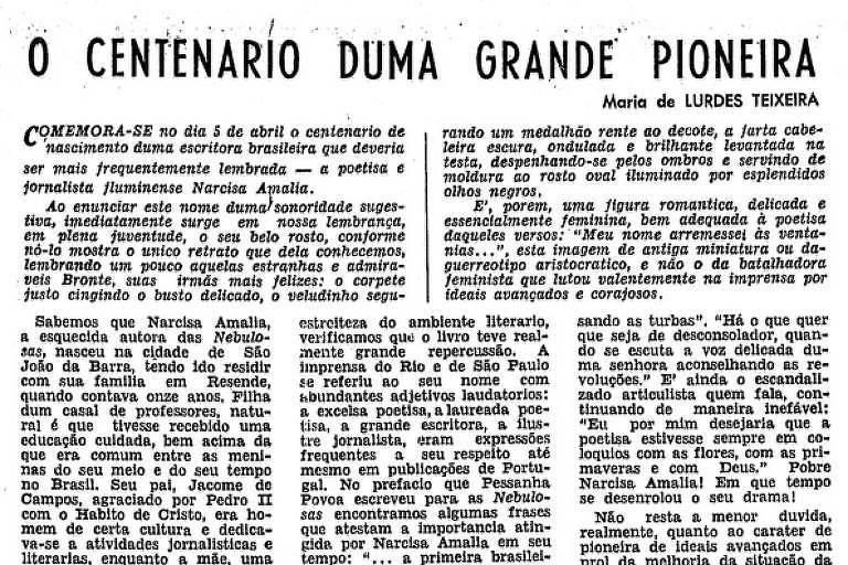 Reprodução da página do jornal em que a crítica foi publicada