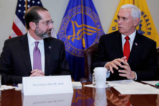 FILE PHOTO: U.S. Vice President Mike Pence leads coronavirus task force meeting at the HHS Department in Washington