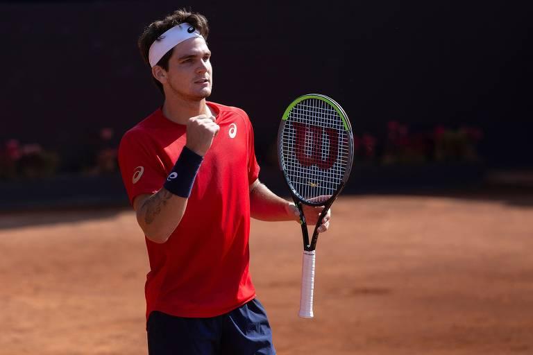O paranaense Thiago Wild, que aos 19 anos se tornou o mais jovem tenista brasileiro a ganhar um título da ATP, durante final contra o norueguês Casper Rudd, no ATP 250 de Santiago
