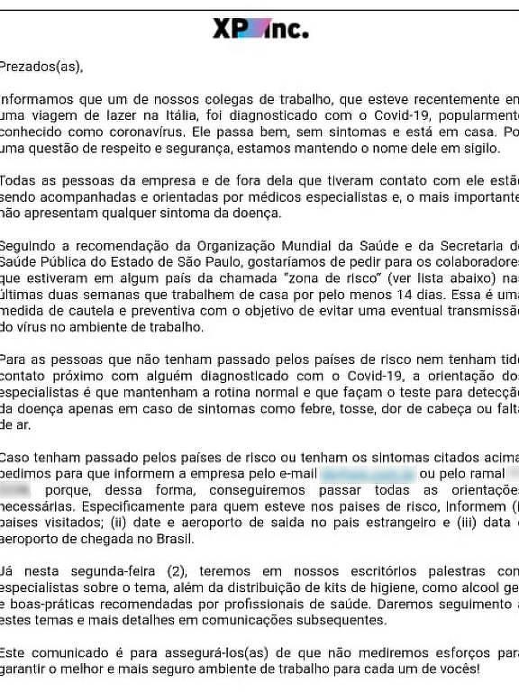 Comunicado Interno enviado pela XP aos seus colaboradores depois que um funcionário foi diagnosticado com o coronavírus