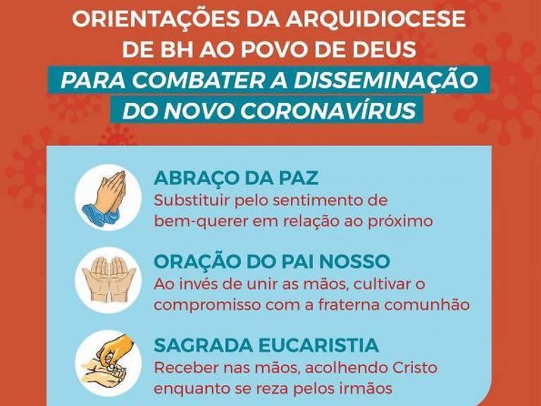 Cartaz com recomendações sobre como proceder nas missas, produzido pela Arquidiocese de Belo Horizonte