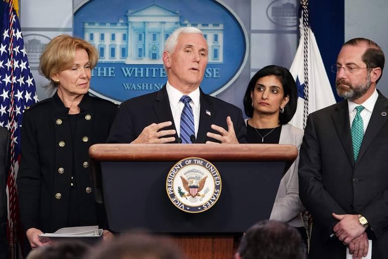 Vice-presidente dos EUA fala sobre coronavírus no país; veja fotos de hoje