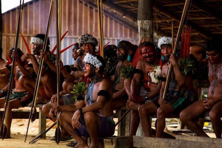 Representantes do povo indígena yanomami, cujo distrito sanitário registrou o maior número de mortes de bebês em 2019