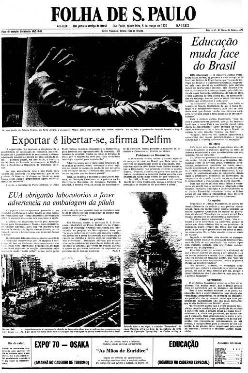 Primeira Página da Folha de 5 de maço de 1970