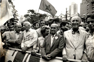 Leonel Brizola, Ulysses Guimarães e Tancredo Neves na Diretas Já!