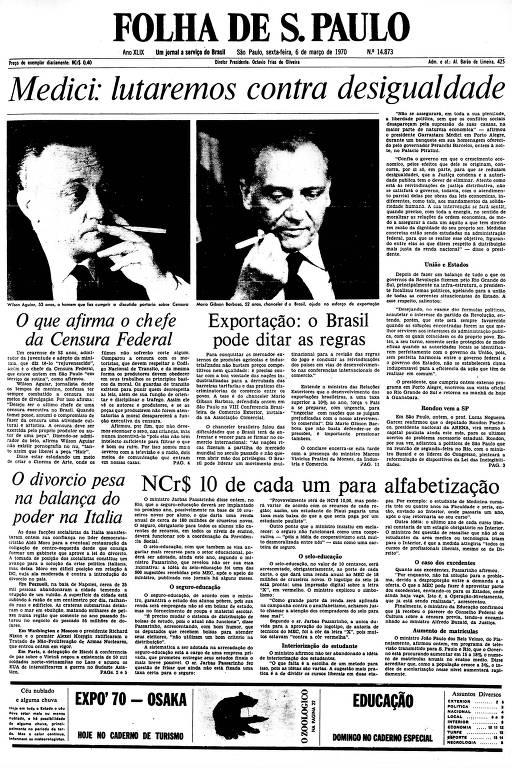 Primeira Página da Folha de 6 de março de 1970