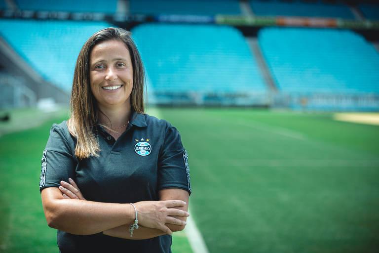 Patrícia Gusmão é técnica da equipe de futebol feminino do Grêmio, que disputa a Série A do Campeonato Brasileiro de 2020