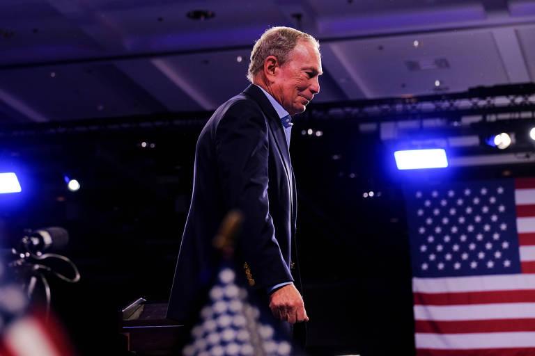 O ex-prefeito de Nova York e pré-candidato democrata Michael Bloomberg durante compício em West Palm Beach, na Flórida