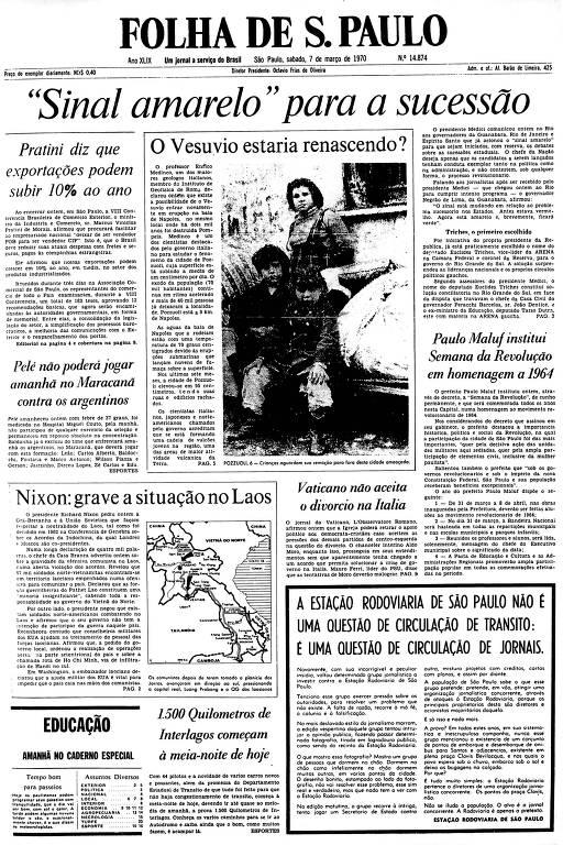 Primeira Página da Folha de 7 de março de 1970