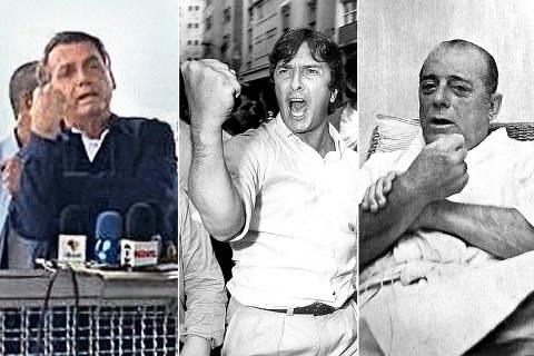 ( A esq.)  O presidente da República, Jair Bolsonaro (sem partido), repetiu o símbolo de
