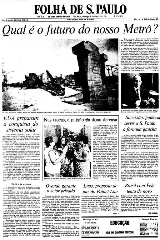 Primeira Página da Folha de 8 de março de 1970