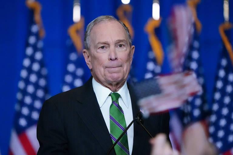 O ex-prefeito de Nova York, Michael Bloomberg, durante o anúncio do fim de sua candidatura
