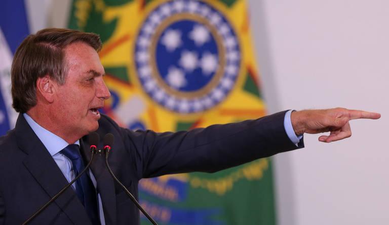 O presidente do Brasil, Jair Bolsonaro, durante evento em Brasília nesta terça (3)