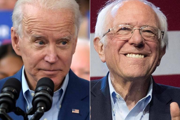 Os candidatos democratas Joe Biden (à esq,) e Bernie Sanders