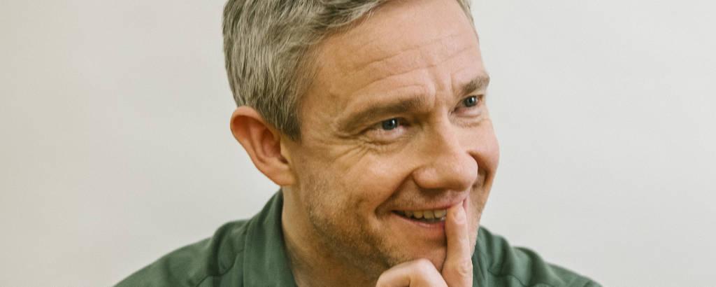 O ator Martin Freeman em Pasadena, Califórnia