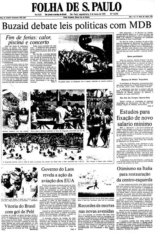 Primeira Página da Folha de 9 de março de 1970