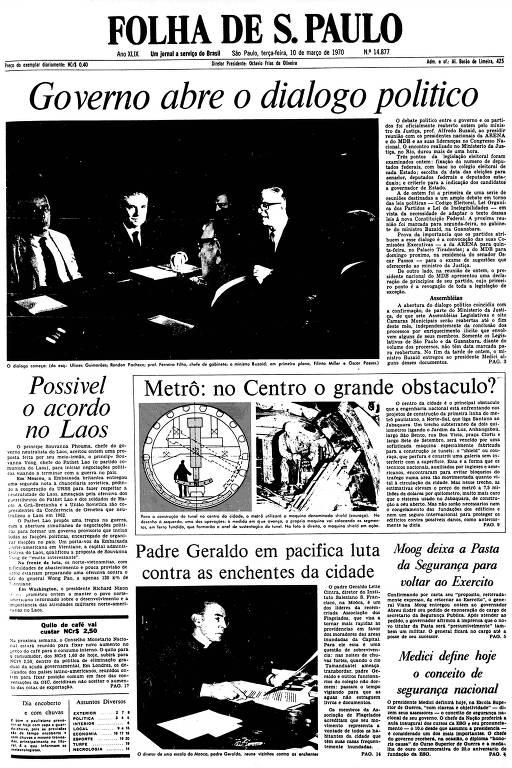 Primeira Página da Folha de 10 de março de 1970
