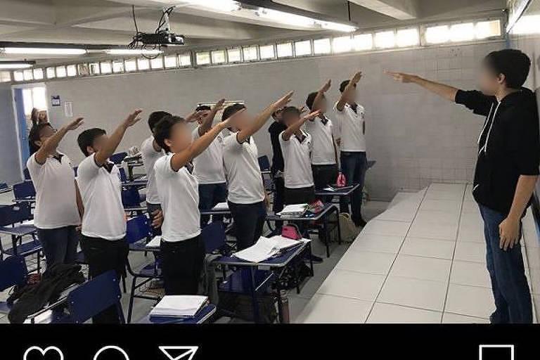 Alunos de escola do Recife fazem saudação nazista em sala e postam imagem em rede social