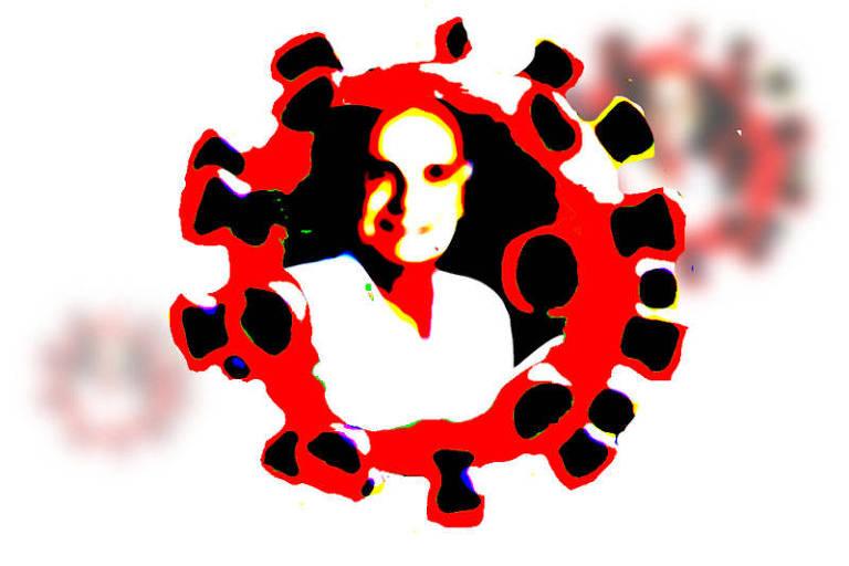 Ilustração feita com manchas de cores. Nela, Drauzio Varella está dentro de um vírus