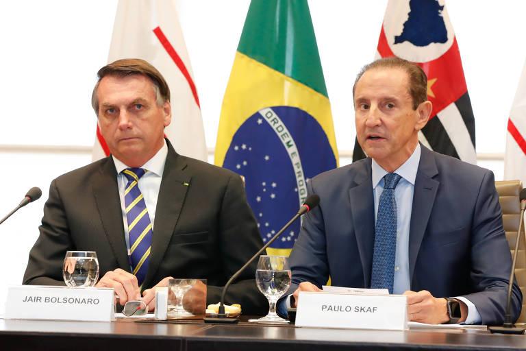 O presidente da República, Jair Bolsonaro, com o presidente da Fiesp (Federação das Indústrias do Estado de São Paulo), Paulo Skaf