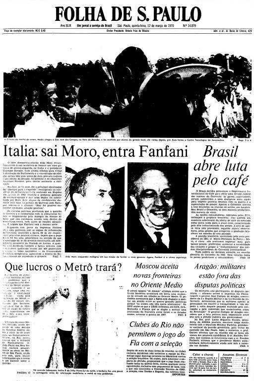 Primeira Página da Folha de 12 de março de 1970