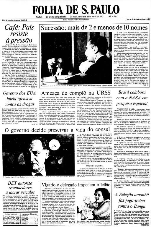 Primeira Página da Folha de 13 de março de 1970