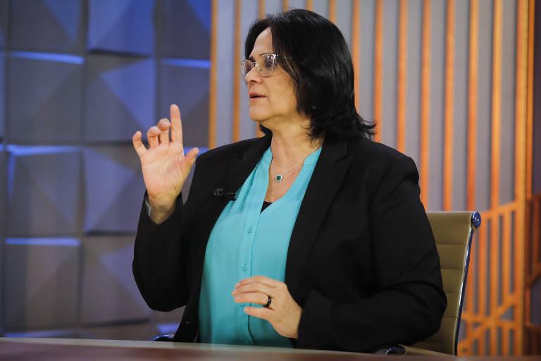 """A ministra da Mulher, da Família e dos Direitos Humanos, Damares Alves, em entrevista ao programa """"Poder em Foco"""", do SBT."""
