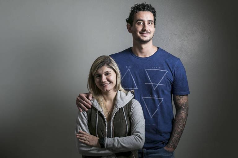 O casal Guilherme Santos, 29, e Pâmela Cordeiro, 36, que fazem aconselhamento genético