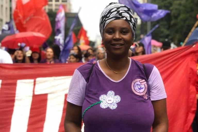 A assessora parlamentar Iara Bento, 45, foi ao ato para lutar contra o governo Bolsonaro