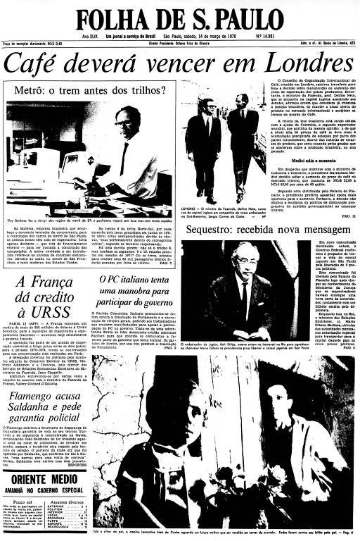 Primeira Página da Folha de 14 de março de 1970