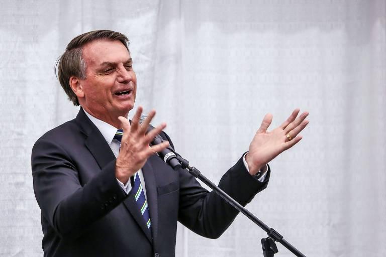 O presidente discursa para comunidade brasileira em Miami