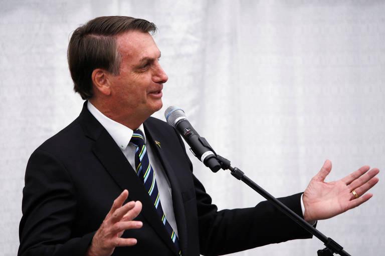 O presidente Jair Bolsonaro durante evento com  a comunidade brasileira em Miami nesta segunda (9)