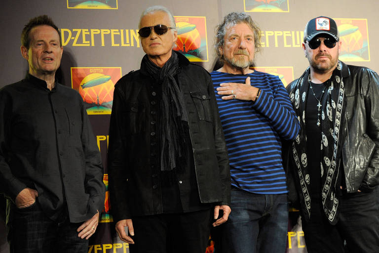 John Paul Jones, Jimmy Page, Robert Plant e Jason Bonham durante coletiva de imprensa em Nova York