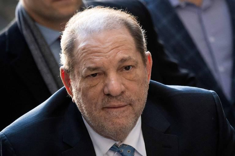 O ex-produtor Harvey Weinstein no dia da leitura da decisão do júri, em fevereiro