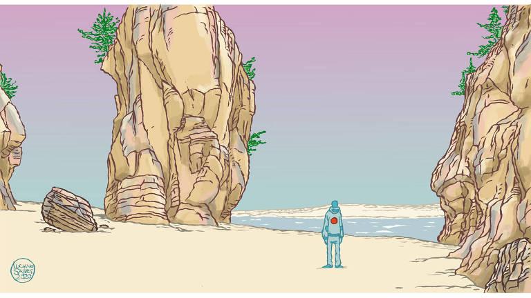 Ilustração de um homem em uma praia com pedras muito grandes perto dele. Ele é azul e está vestindo um agasalho com um círculo vermelho nas costas.