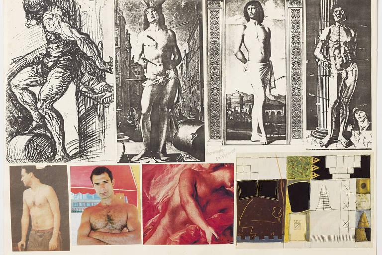 colagem com xerox e fotos de revista de torsos nus