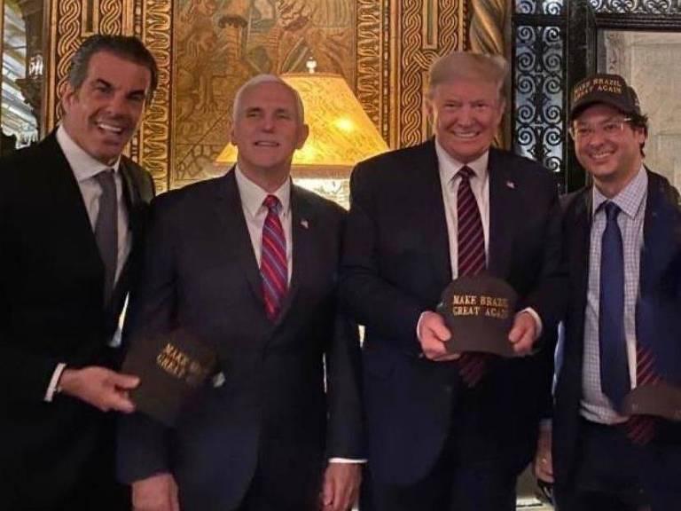 Reprodução de foto publicada no Instagram de Fabio Wajngarten, que aparece ao lado de Donald Trump, no dia 7 de março de 2020