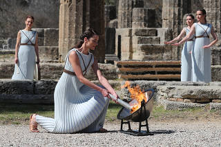 Lighting ceremony of the Olympic flame for Tokyo 2020