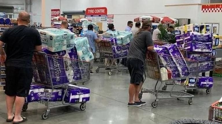 A corrida por papel higiênico também ocorreu na Austrália