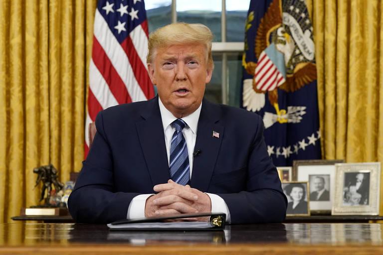 O presidente Donald Trump, durante discurso no Salão Oval em que anunciou medidas contra o coronavírus