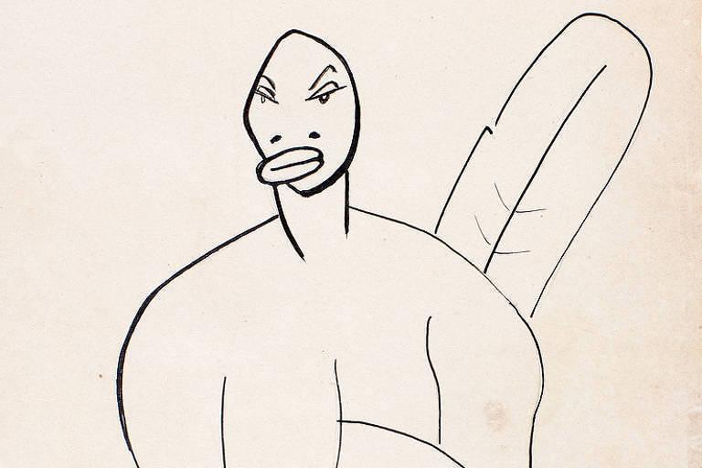 desenho com mulher careca gorda de pernas cruzadas e seio direito caído