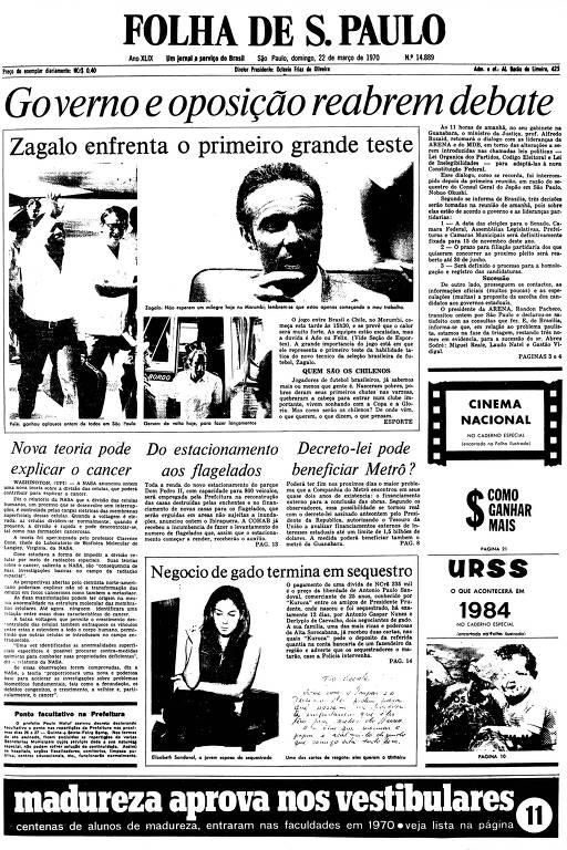 Primeira Página da Folha de 22 de março de 1970