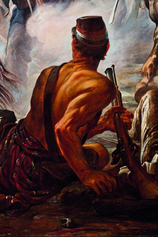 """Detalhe da pintura """"A Batalha do Avaí"""" (1877), de Pedro Américo"""
