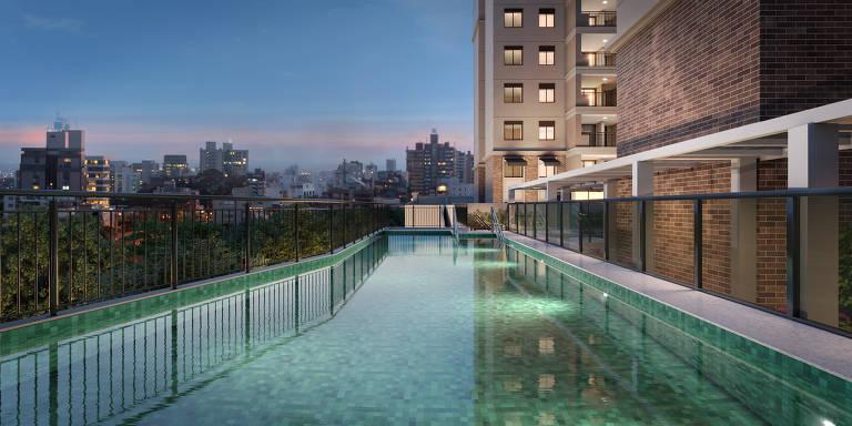 Ilustração da piscina de festas do empreendimento Livind Nord View, da Cyrela, em construção em Santana