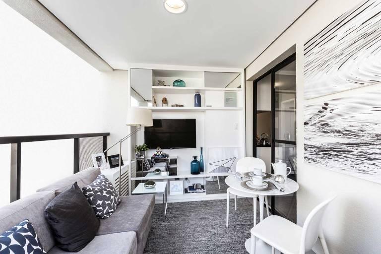 Apartamento decorado do You Jardim Paulista, que tem estúdios de 27 ou 31 m²